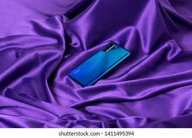 Tyumen, Russian Federation-May 30, 2019: Huawei P30 Pro mobile smartphone, the flagship of the P30 series with the Quad Leica camera
