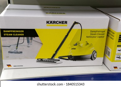 Tyumen, Russia-October 11, 2020: Karcher Sale in a hypermarket. Karcher is a German company that operates worldwide and is known for its high pressure cleaners