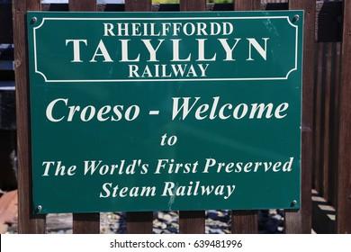 Tywyn, Gwynedd,Wales, UK. 8 May 2017. Advertising board for Talyllyn Railway.