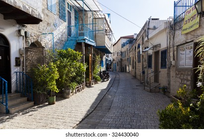 TZFAT (SAFED), ISRAEL - OCTOBER 24, 2014: Empty streets of the city during Shabbat celebration. Tzfat (Safed) is spiritual and artistic centre of Israel.