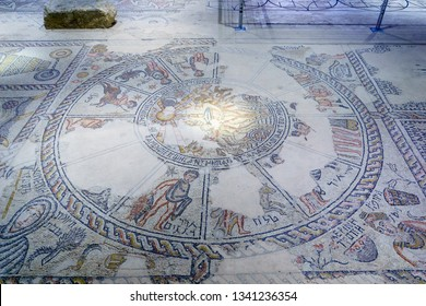 Tzipori, Israel - March 13, 2019: Mosaic floor in the Roman period Synagogue, in Tzipori (Sepphoris) National Park, Northern Israel