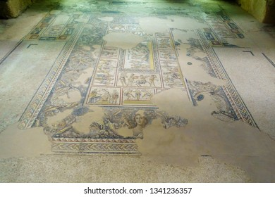 Tzipori, Israel - March 13, 2019: Mosaic floor in the Dionysus House, in Tzipori (Sepphoris) National Park, Northern Israel