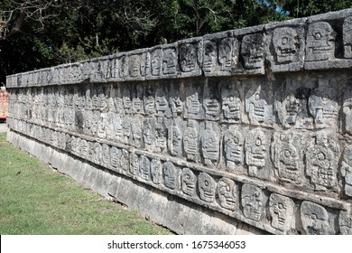 Tzompantli or Skull Platform in Chichen Itza, a large pre-Columbian city built by the Maya people in Yucatan. One of the new 7 wonders of the world.