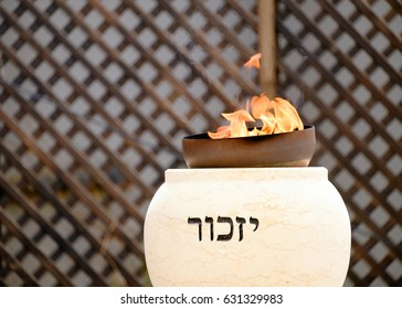 TZUR SHALOM CEMETERY, ISRAEL -  MAY 1, 2017. Memorial flame burning at memorial ceremony on Memorial Day for the Fallen Soldiers of Israel and Victims of Terrorism.