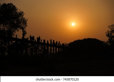 U Bein Bride during sunset in Mandalay Myanmar Burma Amarapura T