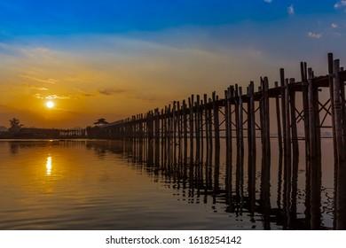 U Bein Bridge Taungthaman Lake Amarapura Mandalay state Myanmar