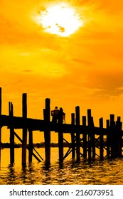U bein bridge, Taungthaman lake, Amarapura, Burma. It is the oldest and longest teak wooden bridge in the world