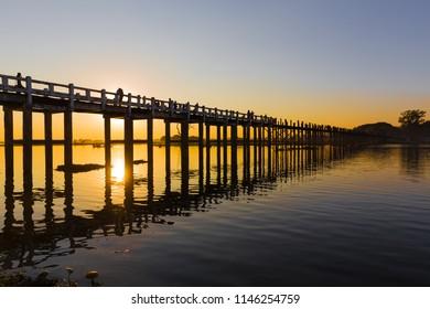 U Bein's Bridge, the longest teak footbridge of  the world, in Amarapura, near mandalay, Myanmar