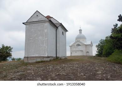 Svatý kopeček u Mikulova, hill church chappel near Mikulov wine town, Czechia - Shutterstock ID 1913358040