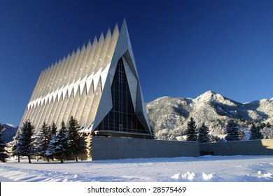 U. S. Air Force Academy Cadet Chapel coated in snow.