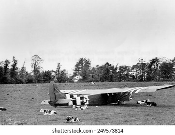 U. S. Air Force Glider that landed intact in Normandy on D-Day, June 6, 1944. The abandoned glider remained in the cow pasture after Airborne troops left for their missions.