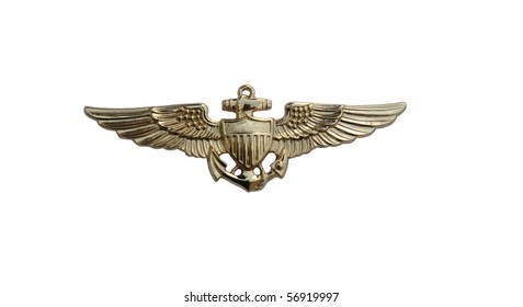U. S. Navy pilot gold wings isolated over white with clipping path at this size