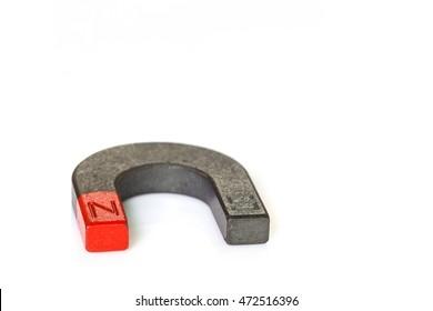 U shape steel magnet on white background