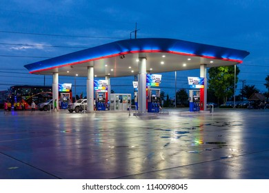 U Thong, Suphanburi - July 22, 2018: PTT Gas Station after rained at night.