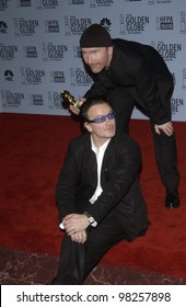 U2 stars BONO & THE EDGE at the 60th Annual Golden Globe Awards at the Beverly Hills Hilton. 19JAN2003.  Paul Smith / Featureflash