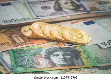 UAD Australia banknote with bitcoin and Euro