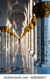 UAE, ABU DHABI - DECEMBER 21: Beautiful gallery of famous Sheikh Zayed White Mosque on December 21, 2014