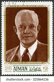 UAE - CIRCA 1970: A stamp printed in Ajman United Arab Emirates UAE shows Dwight D. Eisenhower, 34rd President (1890-1969), circa 1970