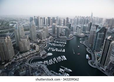 Uae Dubai 2015 Year november 11 . Evening  View on the Dubai marina from Mariott hotel
