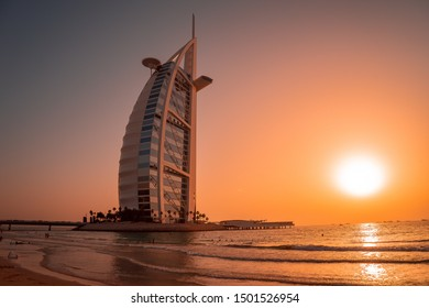 UAE, Dubai, Burj al Arab, april 2019. View from Jumeirah beach to Burj al Arab and Persian gulf in sunset