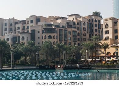 UAE Dubai, December 2018 - Souk Al Bahar Emaar Buildings - Burj Khalifa