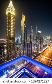 UAE, Dubai - December, 2020: View of Sheikh Zayed Road skyscrapers in Dubai, UAE