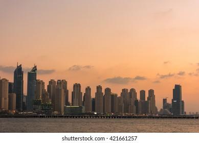 UAE, DUBAI - DECEMBER 28: Evening cityscape of Dubai city, United Arab Emirates on December 28, 2014