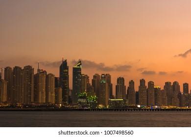 UAE, DUBAI - DECEMBER 28: Night cityscape of Dubai city, United Arab Emirates on December 28, 2014