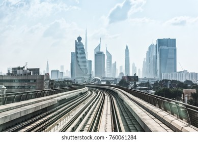 UAE, DUBAI - DECEMBER 31: view on subway road on downtown city Dubai. United Arab Emirates on December 31, 2014