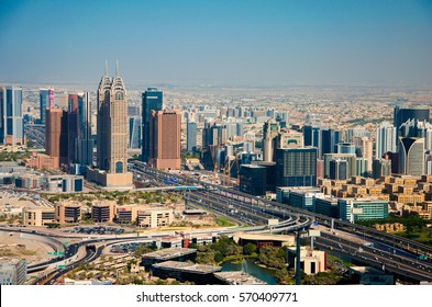 UAE, DUBAI - DECEMBER 8, 2016: The view of Dubai Internet City -  information technology park created by the government of Dubai