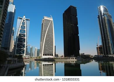 UAE, DUBAI, FEBRUARY 5, 2016: Jumeirah Lakes Towers, Dubai multi commodities centre, United Arab Emirates. Dubai is a city and emirate in United Arab Emirates. JLT, DMCC