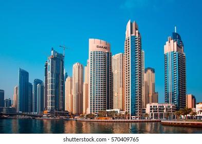UAE, DUBAI - JANUARY 17, 2017: The view of breathtaking skyscrapers, Marina Walk