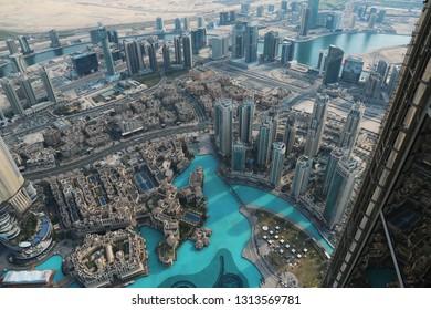 UAE, DUBAI, JANUARY 31, 2016: View on Dubai downtown from 125th floor of Burj Khalifa skyscraper. At the top Burj Khalifa, United Arab Emirates, Persian Gulf, Arabian Peninsula, Middle East