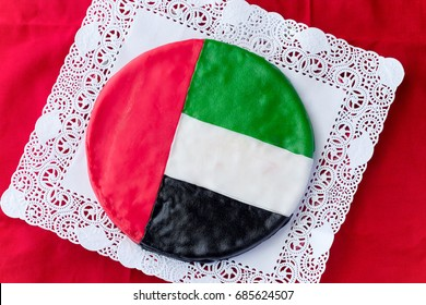 UAE flag cake. Celebration United Arab Emirates independence concept. Top view.