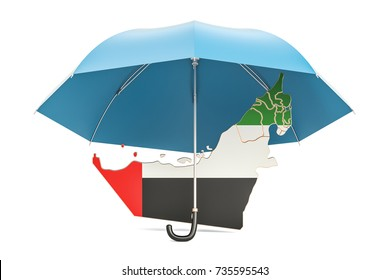uae map under umbrella security and protect concept 3d rendering