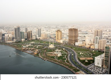 UAE, shore line view from skyscraper