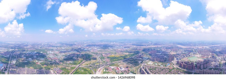 UAV aerial photographs of rail transit, building construction and rural fields in Beilun New Town, Ningbo City, Zhejiang Province, China