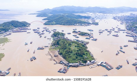 UAV aerial photography of Xiangshan County, Ningbo City, Zhejiang Province, China, 22nd China Fishing Festival. The fishing boats in Xiangshan Fishing Port are full on the eve of going to sea.