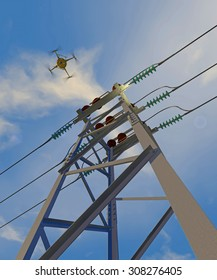 UAV drone in flight inspecting high-voltage electrical switchgear. Fictitious UAV; extreme perspective to emphasize insulators in foreground, overcast sky and motion blur for dramatic effect.