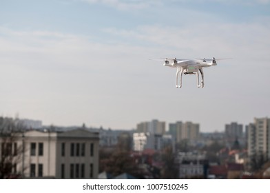 UAV Fyling above the city buildings and goverment buildings
