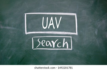 UAV search sign on blackboard