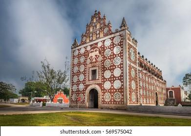 Uayma church, unique colonial architecture in Yucatan, Mexico