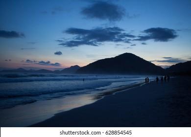 Ubatuba beach after sunset