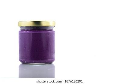 Ube Haleya Jam in a jar isolated on white background