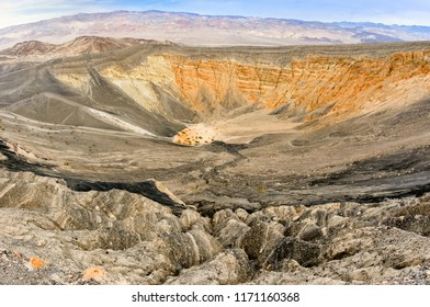 Ubehebe Crater, Death Valley National Park, California, USA. Ubehebe Crater is a large volcanic crater located at the north tip of the Cottonwood Mountains.