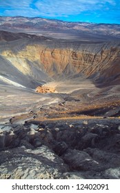 Ubehebe Crater is a large volcanic crater located at the north tip of the Cottonwood Mountains