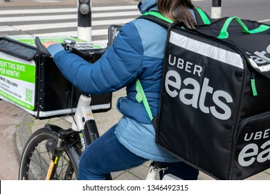 Uber Easts Catering Bicycle Rider At Amsterdam The Netherlands 2019