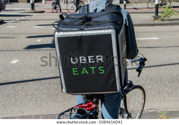 Uber Eats Bicycle Courier Amsterdam Netherlands Stock Photo