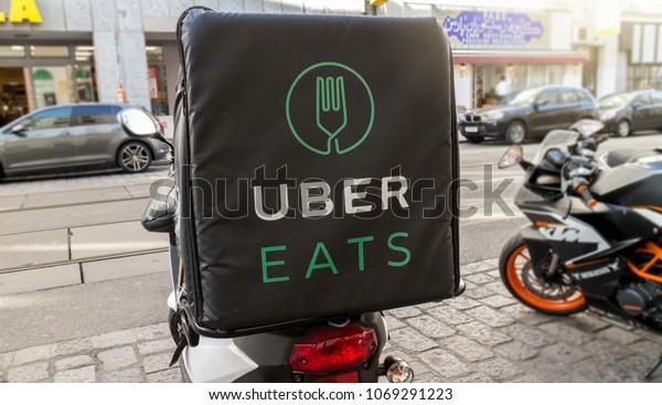 Uber Eats Bike International Food Delivery Stock Photo (Edit