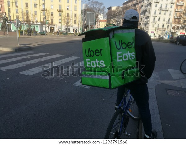 Uber Eats Biker Rider Food Delivery Stock Photo (Edit Now